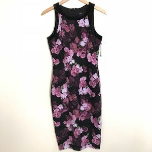 | Ivanka Trump | Floral Velvet Trim Dress [Purple]